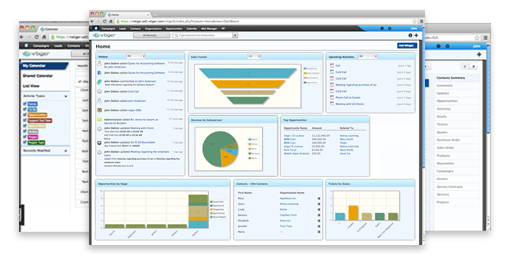 Dashboard vTiger CRM en Hostgreen.com
